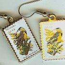 Nebraska Meadowlark Goldenrod stamp earrings 1979ew NIP s