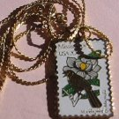 Mississippi Mockingbird Magnolia stamp necklace pendant1976n s