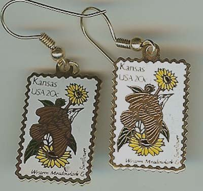 Kansas Meadowlark Sunflower stamp earrings 1968ew s