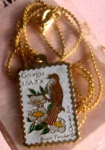 Brown Thrasher Georgia stamp necklace pendant 1962n S