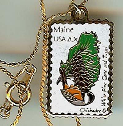 Maine Chickadee white pine stamp necklace pendant 1971n S