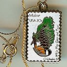 Maine Chickadee white pine stamp necklace pendant 1971n S