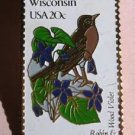 Wisconsin Robin Wood Violet stamp pin lapel hat 2001 S