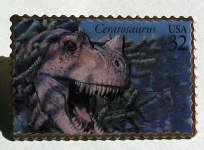 Ceratosaurus Dinosaur stamp pin lapel pins hat 3136A S