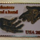 Lend a Hand Volunteer Stamp pin lapel pins hat 2039