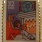 Family Fireplace Christmas Stamp Pin lapel pins 3108 s