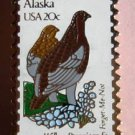 Alaska Willow Ptarmigan Forget-me-not stamp pin 1954