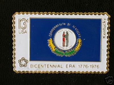 Kentucky State Flag stamp pin lapel hat tie tac 1647 S