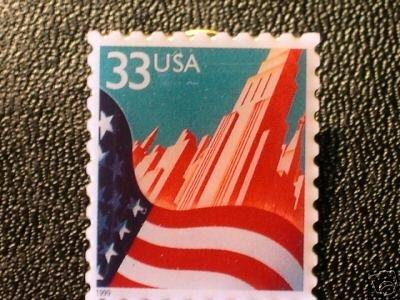U.S. Flag in City Skyscrapper stamp pin lapel pins 3277 S