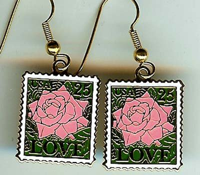 Love Rose Stamp earrings cloisonne 2378ew earwire S