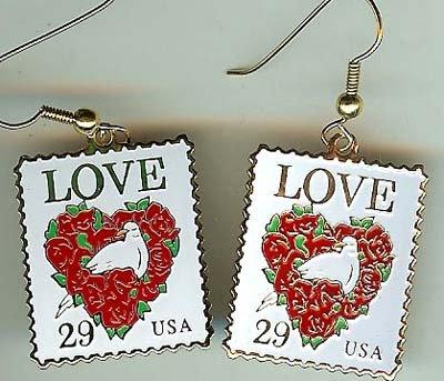 Floral Heart Love Stamp cloisonne earrings 2814ew S