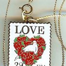 Floral Heart Love metal Stamp necklace pendant 2814n S