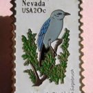 Nevada Mountain Bluebird Sagebrush stamp pin lapel 1980 S