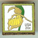 Lady's Slipper Orchid metal Stamp pin lapel hat 2077 S