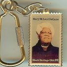 Mary McLeod Bethune metal Black Heritage stamp keychain 2137kc S