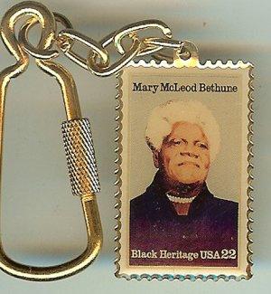 Mary McLeod Bethune metal Black Heritage stamp keychain 2137kc S