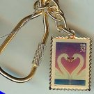 Love Heart Swans 1997 Stamp keychain key ring 3123kc S
