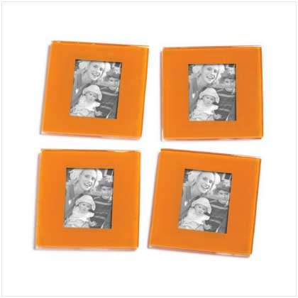 Orange Photo Frame Coaster - 4 Pc