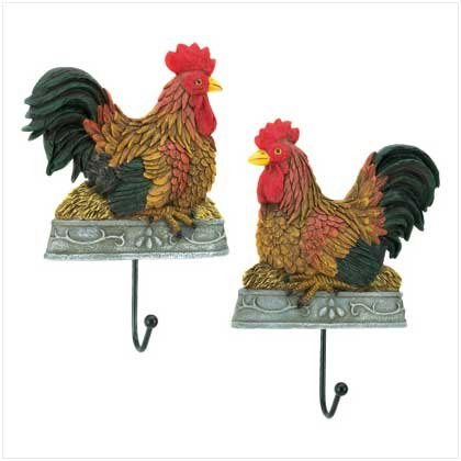 COUNTRY ROOSTER WALL HOOKS
