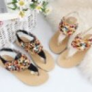 summer women's fashion Bohemian handmade color pearl low heel sandal/shoes