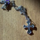 Steampunk Fine Silver Cross Pendant Necklace Men and Women Handcrafted One of a Kind