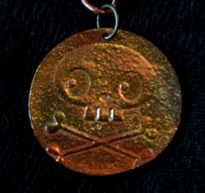 Skeleton Copper Pendant Neckalce Handcrafted One of a Kind Handmade