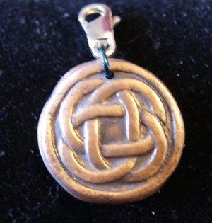 Round Copper Charm with Celtic Design Women Men Necklace Pendant Bracelet