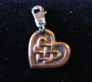 Celtic Copper Heart Charm with Celtic Design Women Men Bracelet Pendant Bracelet