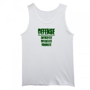 men's white TANK TOP | DEFENSE : anticipate, devastate, dominate [green]