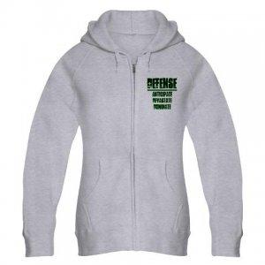 WOMEN'S zip hoodie | DEFENSE : anticipate, devastate, dominate [green]