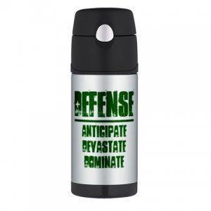 THERMOS BOTTLE 12oz   DEFENSE : anticipate, devastate, dominate [green]