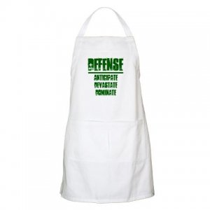BBQ APRON   DEFENSE : anticipate, devastate, dominate [green]