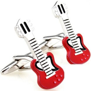Red Electric Guitar Novelty Cufflinks FREE Velvet Gift Pouch