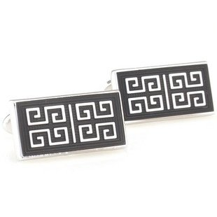 Black Chinese Culture Style Enamel Cufflinks FREE Velvet Gift Pouch