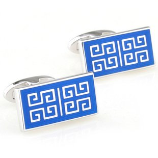 Blue Chinese Culture Style Enamel Cufflinks FREE Velvet Gift Pouch