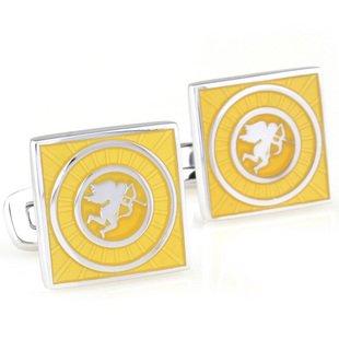 Yellow Cupid Square EnamelCufflinks FREE Velvet Gift Pouch
