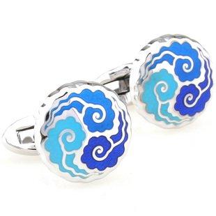 Blue Auspicious Cloud Enamel Cufflinks FREE Velvet Gift Pouch