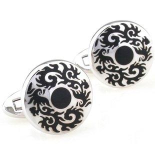 Round Black Gothic Medallion Cufflinks FREE Velvet Gift Pouch