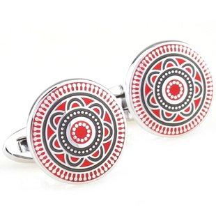 Red Deco Maltese Enamel Cufflinks FREE Velvet Gift Pouch
