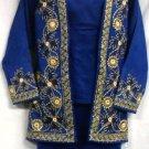 African Women Clothing 4PCs Skirt Set outfit Dark Blue Gold 9104 1X 2X 3X