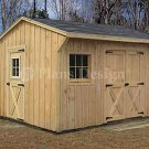 12' X 12' Saltbox Roof Style Storage Shed Plans, Design #71212