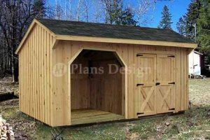 8' X 16' Firewood Storage Shed Project Plans, Design #70816