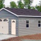 18' X 28' Car Garage Building Blueprints Plans, Design #51828