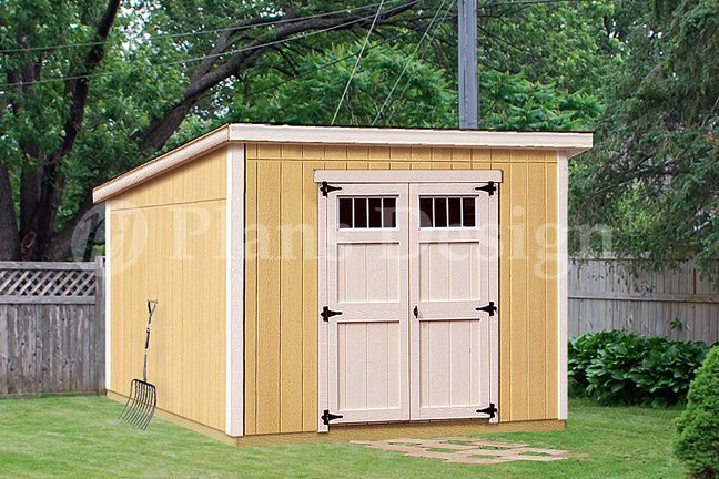 Storage shed plans 8 39 x 10 39 deluxe modern roof style for Storage building designs