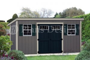 Storage Shed Plans, 6' x 16'  Deluxe Building Modern Style, Design #D0616M