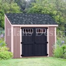 6' x 8'  Wooden Storage Garden Deluxe Lean To Shed Plans, Design #D0608L