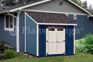 Custom Building 8 ft x 8 ft  Deluxe Lean To Shed Plans, Design #D0808L