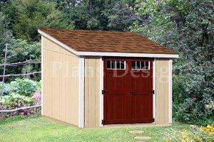 10 by 10 Feet Deluxe Lean To Garden Storage Shed Plans, Design #D1010L