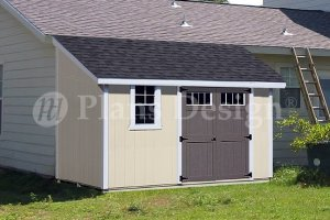 Storage Shed Plans, 10 by 12 Feet Deluxe Lean-To Roof Style, Design #D1012L