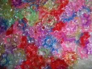 Multicolored Plastic Flower charms